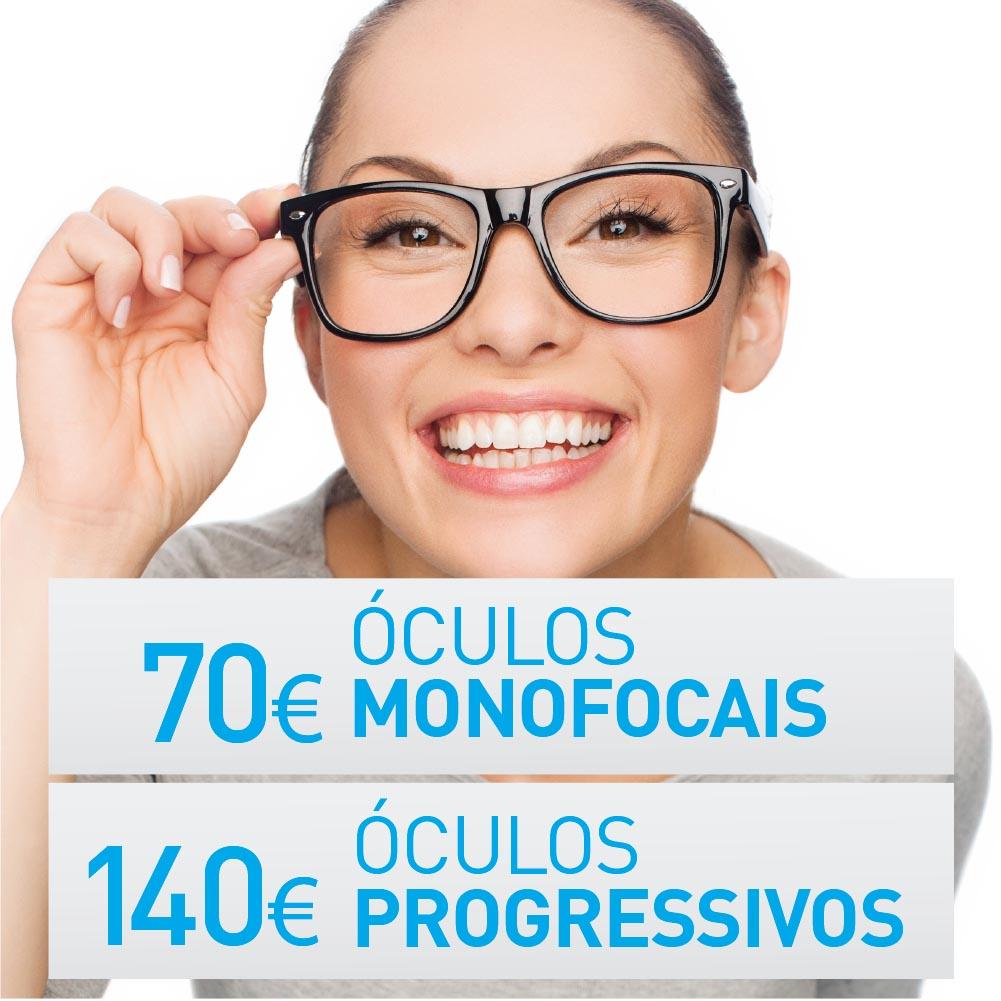 oculos monofocais a 70€ e progressivos a 140€